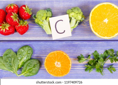 Fresh fruits and vegetables as natural sources of minerals containing vitamin C and dietary fiber, healthy nutrition and strengthening immunity concept