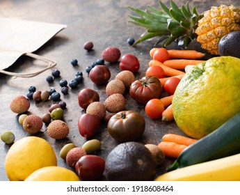 fresh fruits and vegetables on the stone table. zero waste concept