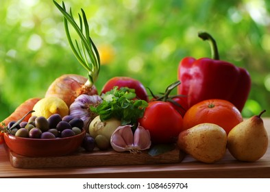 Fresh fruits and vegetables on table