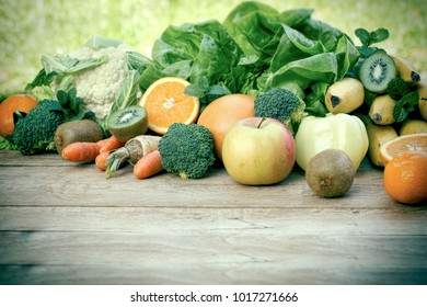Fresh fruits and vegetables, organic fruits and vegetables on table