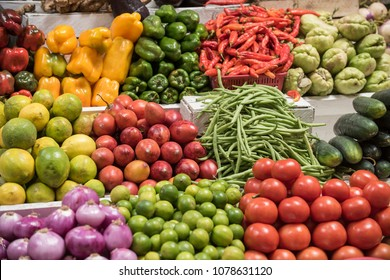 Fresh fruits and vegetables for sale in authentic Ecuadorian market.