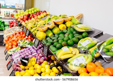 Fresh fruits and vegetables in supermarket store. Healthy eating