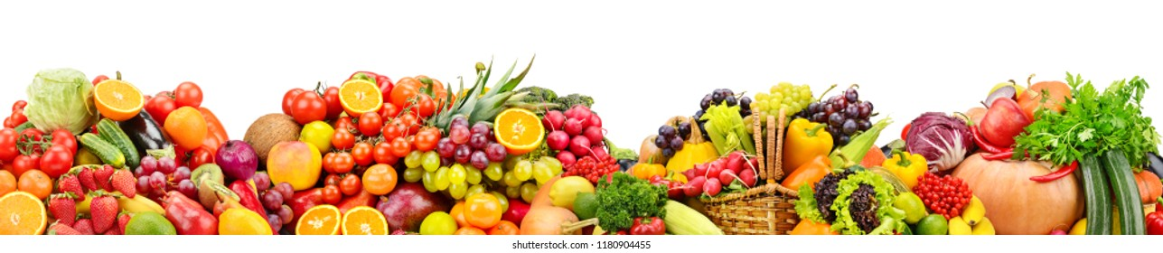 Fresh fruits and vegetables useful for health isolated on white background.