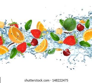 Fresh fruits with water splashes on white background