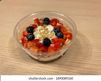 Açaí and fresh fruits with yogurt for healthy lifestyle meal