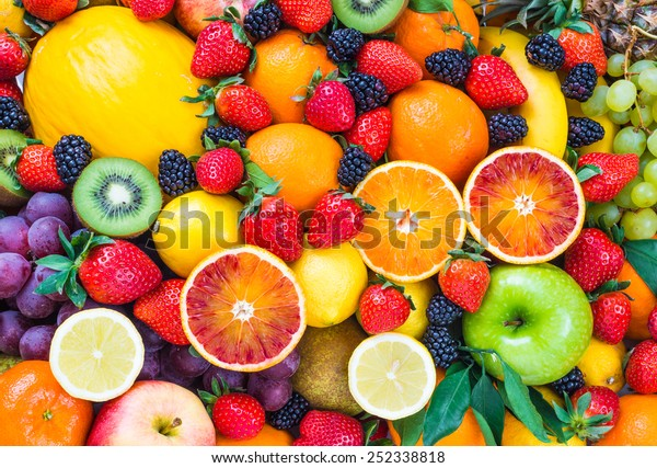 Fresh fruits.Assorted fruits colorful background.