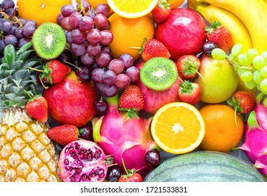 Fresh fruits.Assorted fruits colorful,clean eating,Fruit background - Shutterstock ID 1721533831