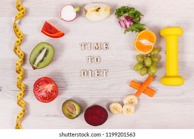 Fresh fuits and vegetables, dumbbell for fitness and tape measure, concept of nutritious food, healthy lifestyles and slimming