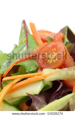 Fresh Garden Salad On White Background Stock Photo Edit Now
