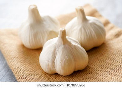 Fresh garlic bulbs.