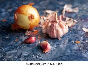 fresh garlic and olion
