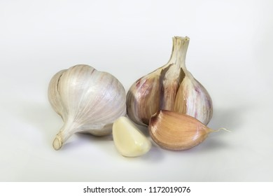 Fresh garlic, on white background
