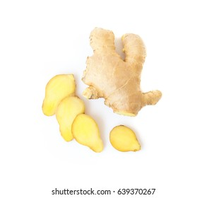 Fresh ginger on white background,raw material for cooking