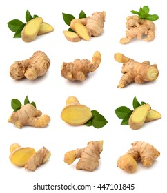 fresh ginger on white bakground Clipping Path