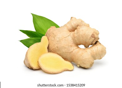 Fresh ginger rhizome with sliced and green leaves isolated on white background.