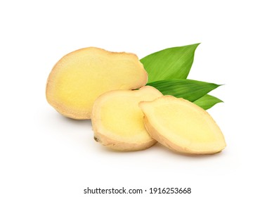 Fresh ginger rhizome sliced with green leaves isolated on white background.