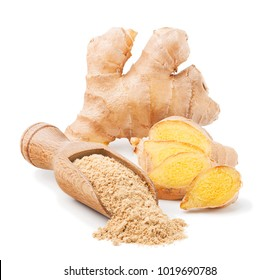 Fresh ginger root and dry powder isolated on white