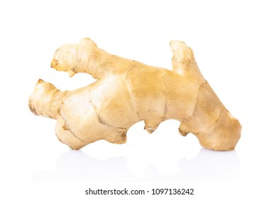 Fresh ginger root on white background for herb and medical product concept, clipping path