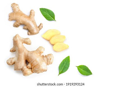 Fresh Ginger root with slice and mint green leaves isolated on white background. Copy space for text. Top view. Flat lay.