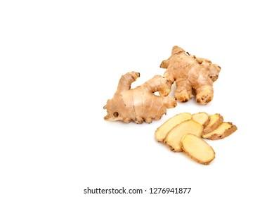 Fresh ginger root spice or rhizome isolated on white background