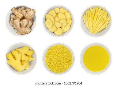 Fresh ginger root in white bowls, over white. Whole and peeled rhizomes, slices and strips, grated and as juice. Zingiber officinale, used as spice and as folk medicine. Food photo closeup from above.