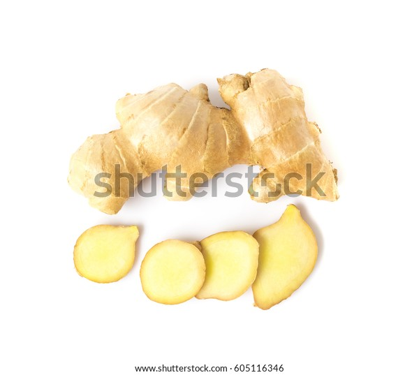 Fresh ginger slices on white background, herb and raw material cooking