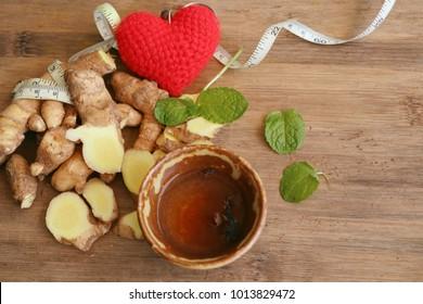 fresh ginger and tea