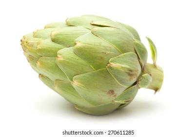 fresh globe artichoke isolated on white background