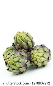 fresh globe artichokes isolated on white copy space