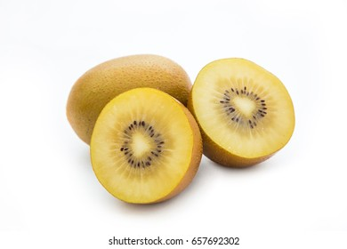 Fresh golden kiwi or yellow kiwi isolated on white background