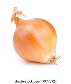 Fresh golden onion isolated on white background