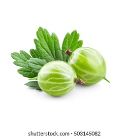 Fresh gooseberry with leaves isolated on white