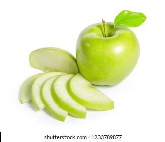 Fresh granny smith apples on white background