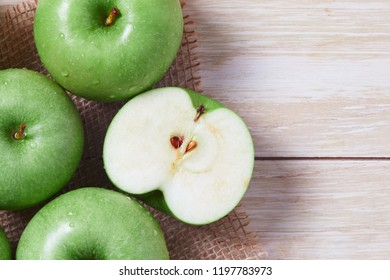 Fresh Granny smith green apples. Top view with copy space