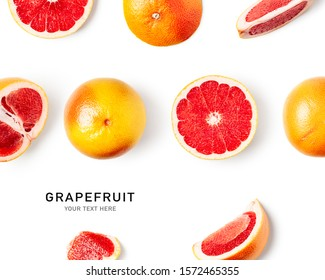 Fresh grapefruit as creative layout isolated on white background. Healthy eating and dieting food concept. Winter citrus fruits arrangement. Flat lay, top view, design element