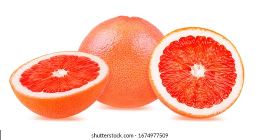 Fresh grapefruit isolated on white background  with clipping path