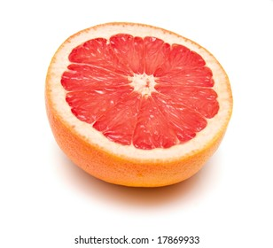 Fresh grapefruit on white. Isolation.