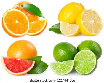 fresh grapefruit, orange, lemon and lime isolated on white background
