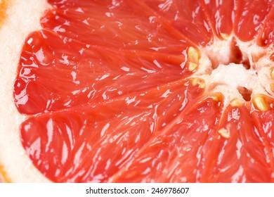 Fresh grapefruit slice closeup