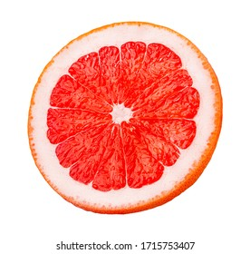 Fresh grapefruit slice  isolated on white background  with clipping path