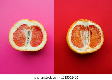 Fresh grapefruit and stale grapefruit on a pink background. Concept of female health. A healthy vagina and an unhealthy vagina.