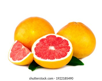 Fresh grapefruits and slices isolated on a white background.