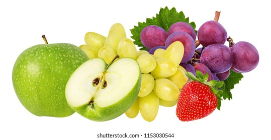 Fresh grapes apples, and strawberry isolated on white background with clipping pass