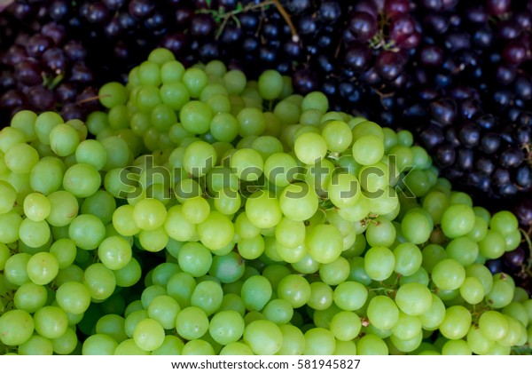 Fresh grapes in market,Soft focus