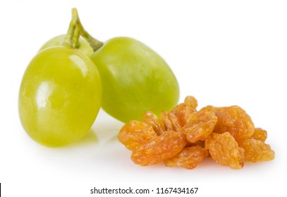 fresh grapes and raisin isolated on white background