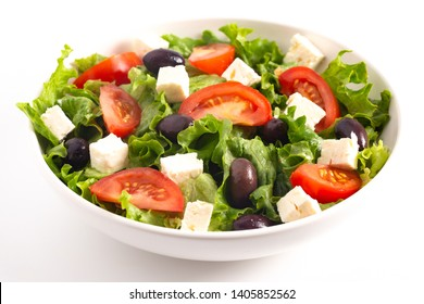 Fresh Greek Salad with Olives Tomatos and Feta Cheese Isolated on a White Background