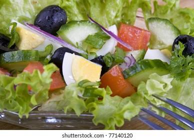 Fresh Greek salad on a platter