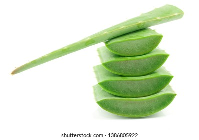 Fresh green Aloe vera with sliced isolated on white background