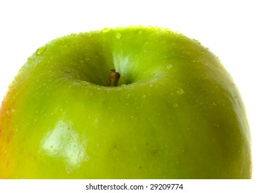 fresh green apple with cristal clear water drops