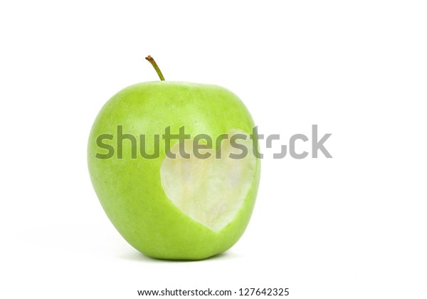 Fresh Green Apple Cut Off Heart Stock Photo Edit Now 127642325